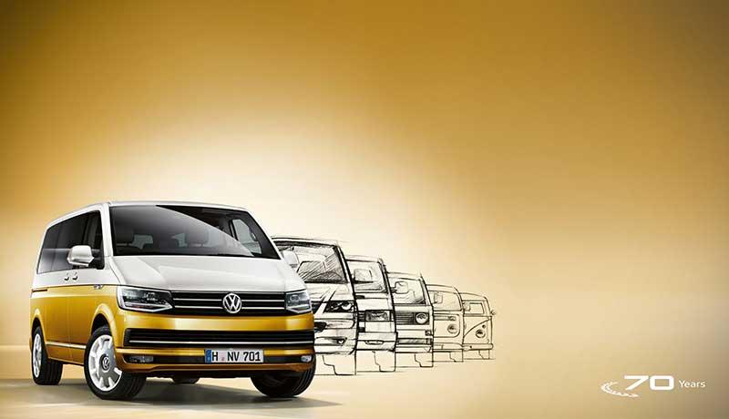 "Multivan Comfortline ""70 Jahre Bulli"" Motor: 2,0 l TDI EU6 SCR BlueMotion Technology 75 kW Getriebe: 5-Gang-Schaltgetriebe Radstand: 3000 mm"